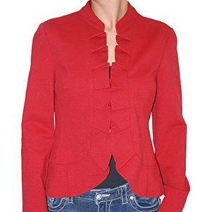 INC Red Ruffle Blazer Jacket